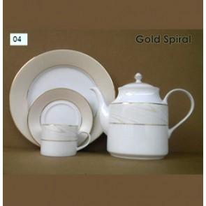 Porcelain Coffee Set - Gold Spiral 2